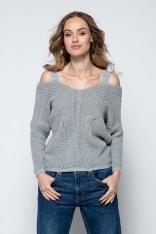 Szary Lekki Nietoperzowy Sweter ze Zmysłowym Dekoltem