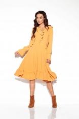 Kamelowa Sukienka w Stylu Boho ze Sznurowanym Dekoltem