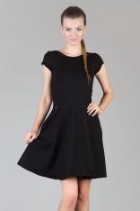 Czarna Rozkloszowana Minimalistyczna  Dzianinowa Sukienka