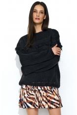 Czarny Oversizowy Sweter z Ażurowym Rękawem
