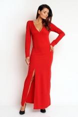 Czerwona Seksowna Sukienka Maxi z Dekoltem V z Długim Rękawem