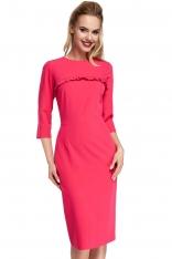Różowe Sukienka Ołówkowa Midi z Falbanką
