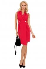 Różowa Asymetryczna Sukienka Żakietowa bez Rękawów