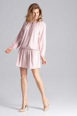 Luźna Różowa Sukienka z Gumką na Biodrach