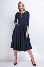 Granatowa Rozkloszowana Sukienka za Kolano z Kontrastowym Zamkiem