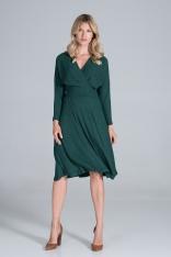 Sukienka z Kopertowym Dekoltem z Prążkowanej Dzianiny - Zielona