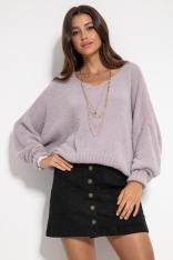 Milutki Sweter Oversize z Dekoltem V - Fioletowy