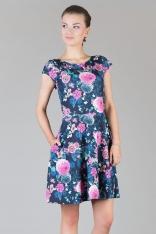Kwiatowa Rozkloszowana Minimalistyczna  Dzianinowa Sukienka