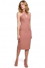 Ołówkowa Sukienka z Wiązaniem na Karku - Różana
