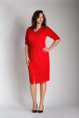 Czerwona Sukienka w Serek z Efektownym Marszczeniem w Talii PLUS SIZE