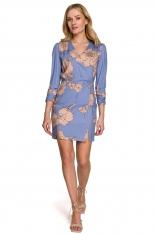 Dopasowana Krótka Sukienka z Kopertowy Dekoltem w Kwiaty - Model 1