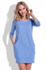 Niebieska Sukienka Krótka z Kieszeniami