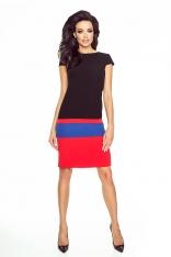 Czarno-czerwona Wielobarwna Sukienka z Krótkim Rękawem
