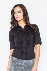 Czarna Elegancka Koszula z Falbankami