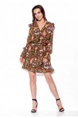 Wzorzysta Sukienka Kopertowa - Druk 13