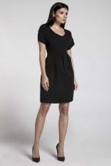 Czarna Wizytowa Sukienka Bombka z Dekoltem V
