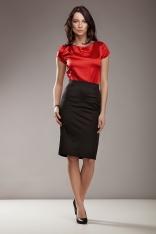 Czerwona Elegancka Bluzka z Satyny