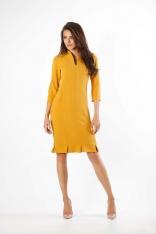 Kamelowa Ołówkowa Sukienka z Ciekawym Dołem