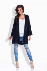 Czarny Sweter Długi Elegancki bez Zapięcia