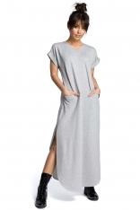 Szara Wyjściowa Długa Sukienka z Rozcięciami na Bokach