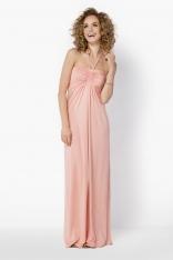 Łososiowa Długa Sukienka z Wiązaniem na Szyi