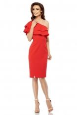 Czerwona Dopasowana Sukienka z Falbanką na Jedno Ramię