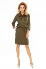 Khaki Sukienka z Wiązaną Kokardą przy Dekolcie
