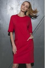 Czerwona Sukienka Pudełkowa z Kieszeniami