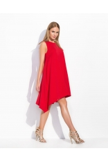 Czerwona Asymetryczna Szeroka Sukienka bez Rękawów