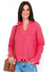 Arbuzowy Casualowy Oversizowy Sweter z Efektem Rozdarcia