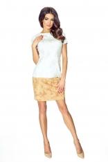 Beżowo Brązowa Dwukolorowa Prosta Sukienka z Krótkim Rękawem