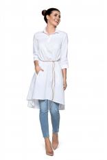 Biała Luźna Sukienka Koszulowa z Rzemykiem