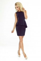 Granatowa Sukienka Ołówkowa bez Rękawów z Asymetryczną Baskinką