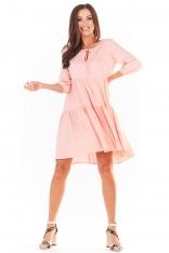 Sukienka Mini w Stylu Boho - Pudrowa