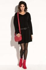 Czarna Krótka Sukienka Wełniana z Dekoltem V