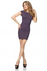 Fioletowa Sukienka Mini z Falbanką i Odkrytym Ramieniem