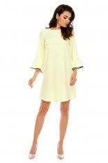 Żółta Szykowna Trapezowa Sukienka z Falbankami przy Rękawach
