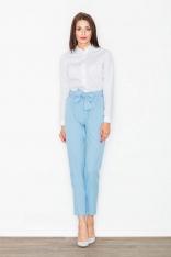 Lekkie Błękitne Marszczone Spodnie z Kokardą w Pasie