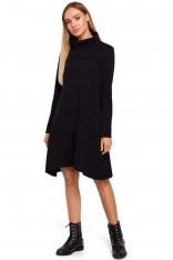 Czarna Asymetryczna Trapezowa Sukienka z Golfem
