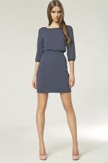 Granatowa Mini Sukienka z Gumkami