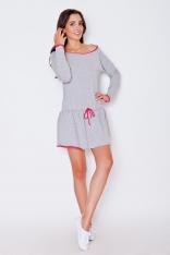 Szaro-różowa Dziewczęca Sukienka z Falbanką z Kontrastowymi Lamówkami z Długim Rękawem