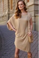 Asymetryczna Sukienka na Lato - Beżowa