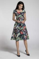 Granatowa Sukienka z Szerokim Dołem z Dekoltem Karo w Motyle