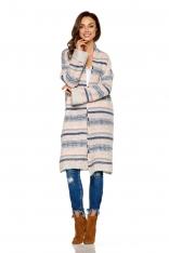 Beżowy Ciepły Wzorzysty Sweter Oversize bez Zapięcia