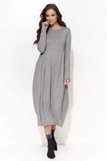 Szara Sukienka Midi Bombka z Długim Rękawem