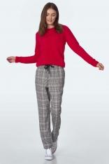 Spodnie w Kratkę Wiązane w Pasie - Zielone