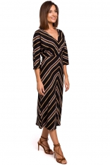 Midi Sukienka z Ciekawym Wzorem