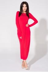 Czerwona Sukienka Dzianinowa Maxi Drapowana na Boku