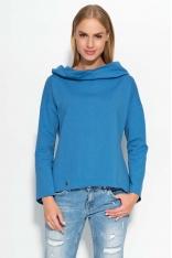 Niebieska Bluza z Szerokim Kapturem