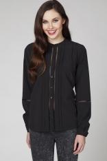 Czarna Elegancka Bluzka Koszulowa z Ażurowymi Wstawkami